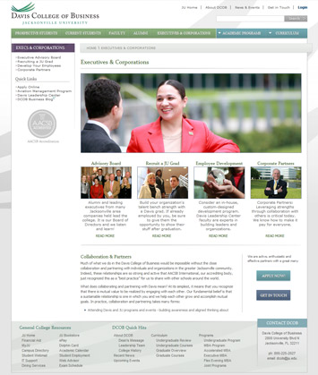 Jacksonville University Davis College of Buisness Website